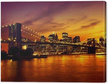 Obraz na Płótnie Brooklyn Bridge o zachodzie słońca