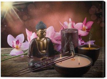Obraz na Płótnie Buddah świec i kadzidła witn