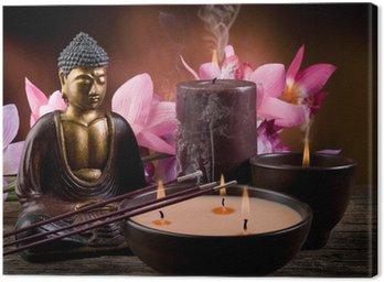 Obraz na Płótnie Buddah z świec i kadzideł