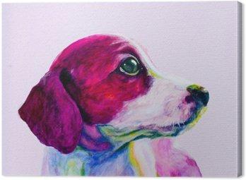 Obraz na Płótnie Buddy Portret młodego psa, szczeniaka w neonowych kolorach. Patrząc i tęsknota za uwagę