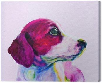 Buddy Portret młodego psa, szczeniaka w neonowych kolorach. Patrząc i tęsknota za uwagę