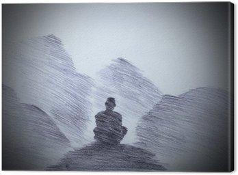 Buddyjski mnich w górach
