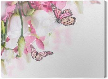 Bukiet z białych i różowych róż, Motyl. kwiatów w tle.