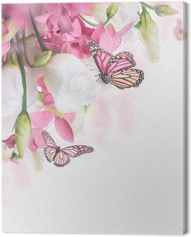 Obraz na Płótnie Bukiet z białych i różowych róż, Motyl. kwiatów w tle.