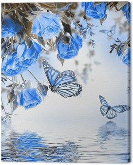 Obraz na Płótnie Bukiet z róż i motyli delikatnych, kwiatów tle