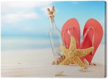 Obraz na Płótnie Butelka z komunikatem na plaży