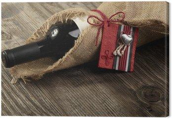 Obraz na Płótnie Butelkę czerwonego wina z komunikatem