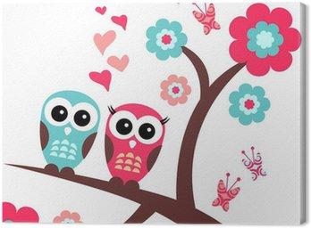 Obraz na Płótnie Całkiem romantyczną kartkę z sowy