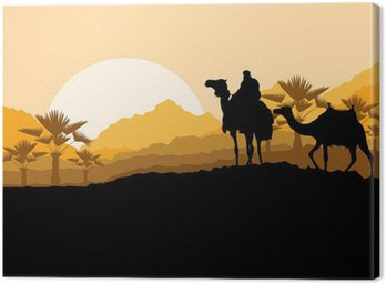 Obraz na Płótnie Camel caravan w dzikiej górskiej przyrody deseń krajobraz pustynny
