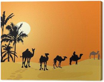 Camel caravan w pustyni
