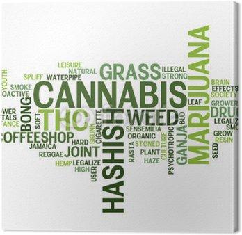 """Obraz na Płótnie """"CANNABIS"""" Tag Cloud (trawa marihuana narkotyki joint chwast haszysz)"""