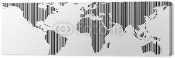 Obraz na Płótnie Carte du monde en kod barre