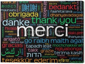 """Obraz na Płótnie Carte """"MERCI"""" (komunikat mots amour oui dziękuję danke gracias)"""
