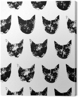 Obraz na Płótnie Cat głowy grunge druki szwu w kolorze czarnym i białym, wektor