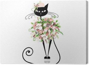 Obraz na Płótnie Cat Przepych w kwiatowe ubrania dla projektu