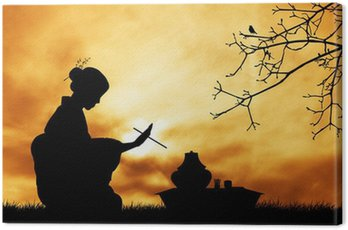Obraz na Płótnie Ceremonia herbaty o zachodzie słońca