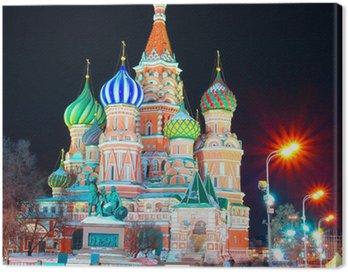 Obraz na Płótnie Cerkiew Wasyla Błogosławionego w nocy, Plac Czerwony, Moskwa, Rosja