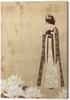Obraz na Płótnie Chińska dziewczyna na starym papierze grunge