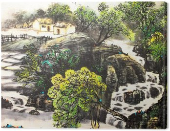 Obraz na Płótnie Chiński krajobraz akwarela painting__