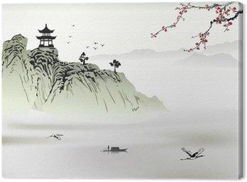 Obraz na Płótnie Chiński krajobraz, malarstwo