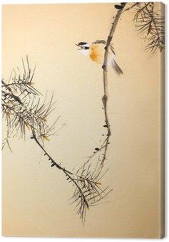 Chiński malarstwo tuszem ptaków i roślin