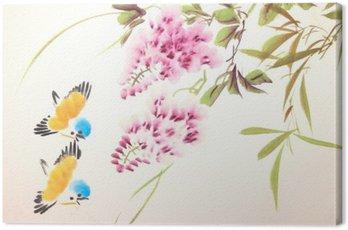 Obraz na Płótnie Chiński malarstwo tuszem ptaków i roślin