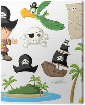 Chłopiec pirat kreskówka z piratów zestaw ikon.