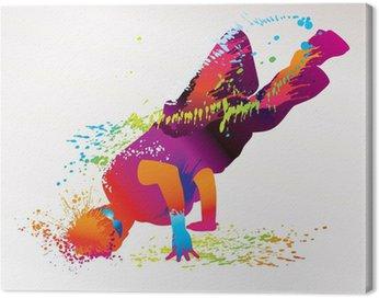 Obraz na Płótnie Chłopiec taniec z kolorowe plamy i odpryskami. wektor