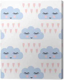 Obraz na Płótnie Chmury wzór. Jednolite wzór z uśmiechem śpiących chmury i serca dla dzieci święta. Cute baby shower tło wektor. Dziecko rysunek styl deszczowe chmury w miłości ilustracji wektorowych.