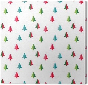 Obraz na Płótnie Choinka Szwu nowy rok kartkę z życzeniami / tle tapety. Ilustracja wektora. jodła symbolem drzewa.