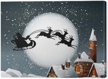Obraz na Płótnie Christmas Ilustracja z Santa i jego reniferów