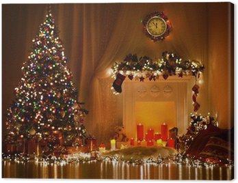 Obraz na Płótnie Christmas Room Interior Design, Xmas tree zdobione Lights