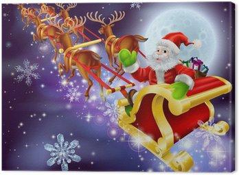 Obraz na Płótnie Christmas Santa latania w jego sanki lub sanie