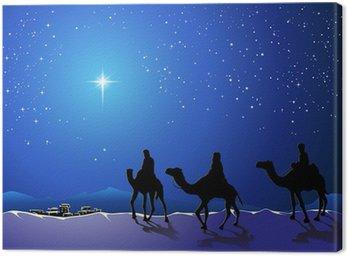 Obraz na Płótnie Christmas Story. Trzech mędrców przejść do gwiazdy betlejemskiej