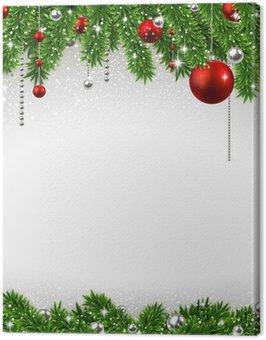 Obraz na Płótnie Christmas tła z gałęzi jodłowych i kulki.