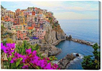 Obraz na Płótnie Cinque Terre wybrzeża Włoch z kwiatami