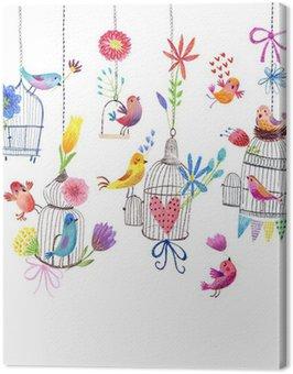 Obraz na Płótnie Cute karty z ptaków i kwiaty malarstwa pastelowego rysunku
