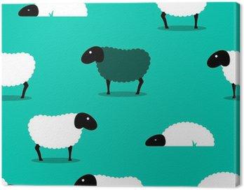 Obraz na Płótnie Czarna owca wśród białym tle płytek owiec