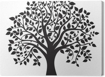 Obraz na Płótnie Czarna sylwetka drzewa na białym tle