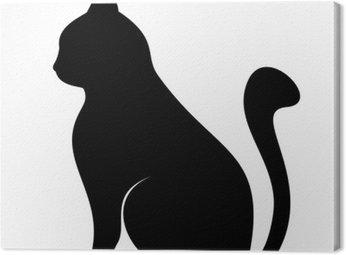 Obraz na Płótnie Czarna sylwetka kota. ilustracji wektorowych.
