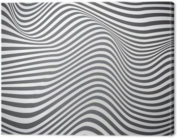 Obraz na Płótnie Czarno-białe zakrzywione linie, fale powierzchniowe, vector design