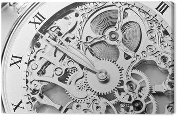 Obraz na Płótnie Czarno-białe zamknąć widok mechanizm zegarka