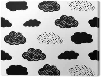 Obraz na Płótnie Czarno-biały szwu z chmurami. Cute baby shower tło wektor. Styl rysowania dla dzieci ilustracji.