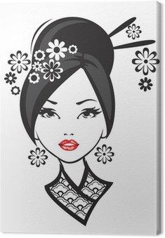 Obraz na Płótnie Czarno-białych ilustracji z eleganckim Japonka.