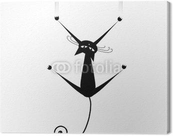 Obraz na Płótnie Czarny kot silhouette dla swojego projektu