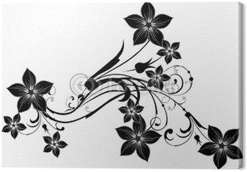 Obraz na Płótnie Czarny kwiatowy arabeska