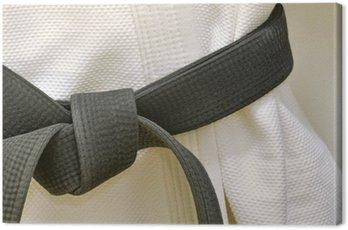 Obraz na Płótnie Czarny pas karate na białym mundurze