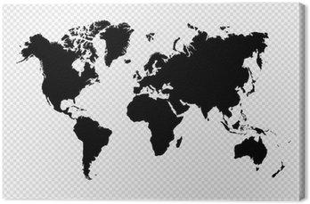 Obraz na Płótnie Czarny samodzielnie mapa świata plików wektorowych eps10.