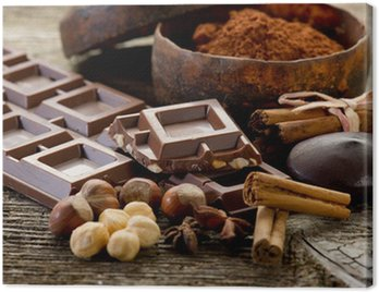 Obraz na Płótnie Czekolada z składniki-czekolady i składników