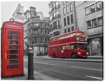 Obraz na Płótnie Czerwona budka telefoniczna i autobusów w Londynie (Wielka Brytania)